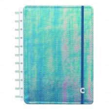 Caderno Inteligente 80F Grande Azul Holográfico