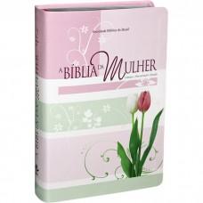 A Bíblia da Mulher - Couro bonded Tulipas Tamanho Médio