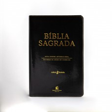 Bíblia NVI, Couro Soft, Preto, Letras Vermelhas, Índice de Dedo, Leitura Perfeita