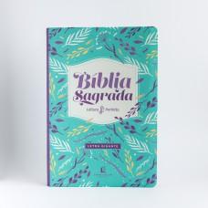 Bíblia NVI, Couro Soft, Flores, Letra Gigante, Leitura Perfeita
